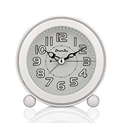DreamSky Non Ticking Quartz Analog Alarm Clock With Nightlight And Snooze, Loud Music Alarms,Simple To Set Clocks, Small Bedside Alarm Clock ,Battery Powered (White)