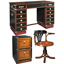 Hot Sale Travel Desk Madras with Purser's Chair and Campaign Filing Cabinet, Black and Honey - Office Antique Furniture Kit, Solid Wood Office Desks with Chair and Filing Cabinet, Black and Honey - Working Desk with Chair and Filing Cabinet