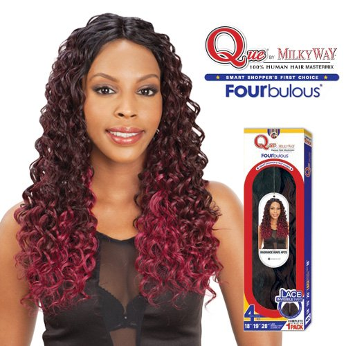 Milky-Way-Que-Human-Hair-Blend-Weave-Fourbulous-Radiance-Lace-Invisible-Part-20-Vintage-Curl-4Pcs