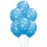 Christmas - Ballon Latex Qualatex Flocon de Neige & Paillettes 28 cm x 5