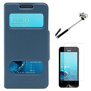 DMG Premium Flip Table Talk Stand Cover Case For Asus Zenfone 4 A400CXG (Blue) + Matte Screen + Selfie Stand Stick
