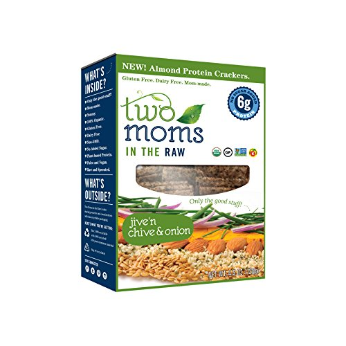 Two Moms in the Raw Crackers, Jive N' Chive and Onion Almond, 4.5 Ounce