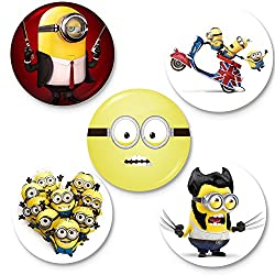 Capturing Happiness Minion Badges Pack Of 5 Pin Badge