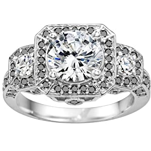 Promise Ring Set with Black And White Diamonds mounted in 10k White Gold (4.05 ct. twt.)
