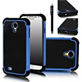 Galaxy S4 Case, E LV Galaxy S4 Case - Hybrid Dual Layer Armor Defender Protective Case Cover (Hard Plastic with Soft Silicon) for Samsung Galaxy S4 S IV i9500 with 1 Screen Protector, 1 Black Stylus and E LV Microfiber Sticker Digital Cleaner (BLUE)