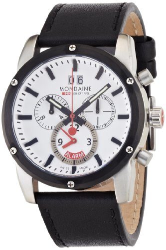 Mondaine Mens Sport II Chrono Alarm with White Dial and Black Leather Strap