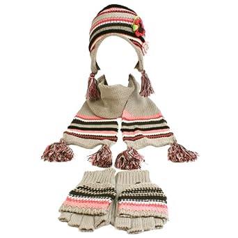 Winter Girls Kids Age 7-14 Knit Scarf Beanie Hat Cap Flip Gloves Ski Set Gray