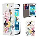 32nd® Design book wallet PU leather case cover for Samsung Galaxy Mini GT-S5570 + screen protector and cleaning cloth - Colour Butterfly