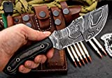 CFK Cutlery Company USA Custom Handmade TWIST DAMASCUS Steel Micarta TRACKER Hunting Skinning Bushcraft Knife with Leather Sheath & Fire-Starter Rod Set CFK186