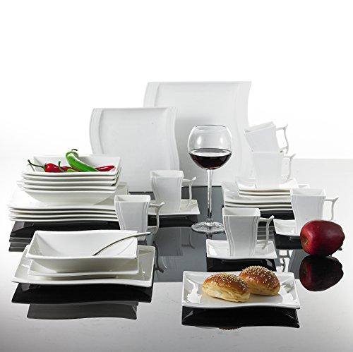malacasa serie flora tafelservice 30 teilig kombiservice weiss porzellan geschirrset im. Black Bedroom Furniture Sets. Home Design Ideas