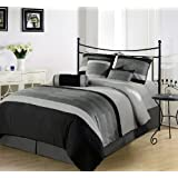 Chezmoi Collection 7 Pieces 3-tone Black Gray Embroidery Comforter Set / Bed-in-a-bag Queen Size Bedding - B005DI7V7E