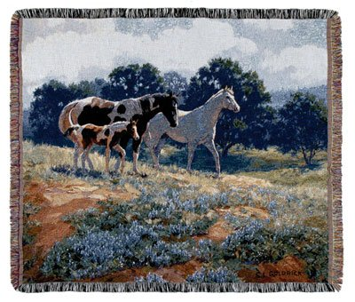 "April Breezes Pictorial Horses Tapestry Throw Blanket 60"" X 50"""