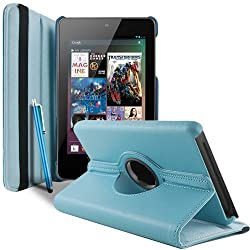 Gioiabazar 360 Degree Rotating Smart Leather Case Cover For Asus Google Nexus 7 2012 1st Generation Tablet Light Blue GB10131