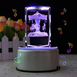 LIWUYOU Carousel Musical Box Personalized Custom Text Rectangle Crystal 3D Colorful LED Rotating Carousel Hourse, Music Base