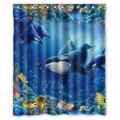 Generic Personalized Beautiful Under Sea World Killer Whale Tropical Fish Series Shower Curtain Bath Decor 60