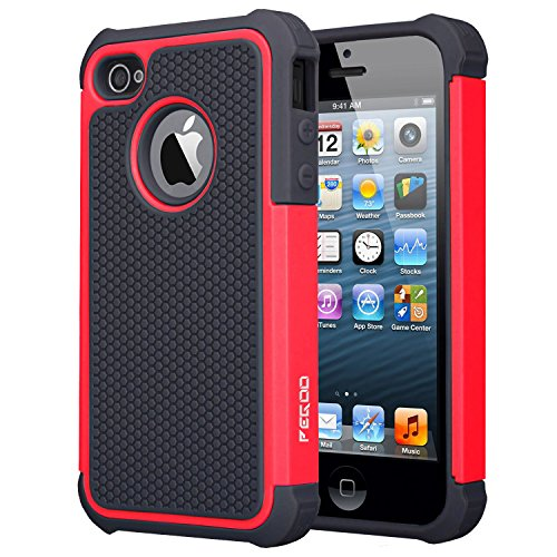 iPhone 4S Case,Pegoo [Football face] Shockproof Durable Hybrid Dual Layer Armor Defender Full Body Protective Hard Plastic with Soft Silicone Case Cover for Apple iPhone 4 4S (Black Red) (Football Iphone 4 Case compare prices)