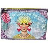 Vintage Ethnic Graphic Art Design Shine Like a Sunflower Oil Cloth Large Make-up or Accessory Travel Bag