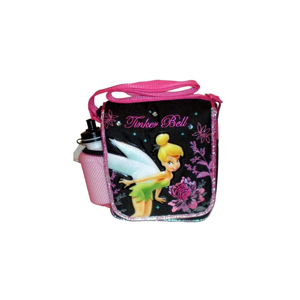 Tinkerbell Lunch Box   Disney Princess Tinker Bell Insulated Black & Pink Messenger Style Lunch Bag Tote; Great Gift Idea (Kids & Childrens Lunch Box)