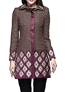 DN Womens Vintage Fit Color Block Long Sleeve Peplum Embroidery Jacket Coat XL