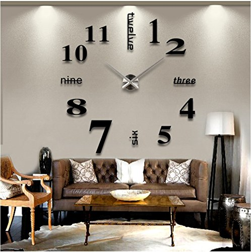 Modern Mute DIY Frameless Large Wall Clock 3d Mirror Sticker Metal Big Watches Home Office Decorations (Black)