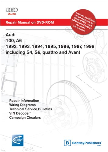 Audi 100, A6 1992, 1993, 1994, 1995, 1996, 1997, 1998 Including S4, S6, quattro and Avant Repair Manual on DVD-ROM (Wind