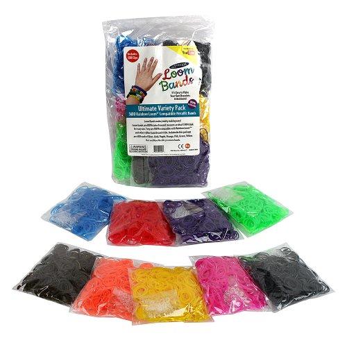 Telar de gomas - 3600 metálicos goma recarga variedad Value Pack con Clips (400 cada uno de 9 colores metálicos)-100% libre de látex