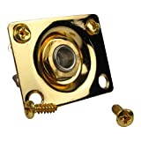 Musiclily Square Output JackPlate Socket for Gibson LP Tele and Strat Style Electric Guitar, Gold