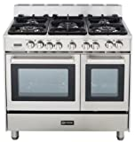 Verona VEFSGE365DSS 36 Double Oven Dual Fuel Range, 5 Sealed Gas Burners, 2.4 cu. ft. Oven Capacity, Storage Drawer, Electronic Ignition, Digital Clock and Timer: Stainless Steel