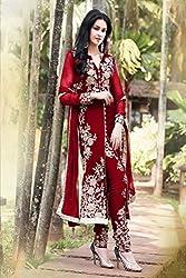 KD Enterprise Women's Salwar Suit (Red)