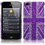 iPhone 4S / iPhone 4 Purple Union Jack Diamante Case / Cover / Shell / Shieldby TERRAPIN