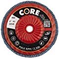 "CoreTemp 88540 Type 27 High Density Abrasive Flap Disc with Plastic Turbo Backing, Metal Threaded Hub, Zirconium, 5"" Diameter, 5/8""-11 Arbor, 40 Grit  (Pack of 5)"