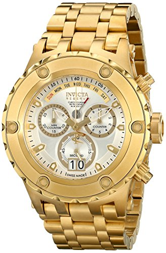 Invicta Men's Subaqua Chronograph 18K Gold Plated White Dial