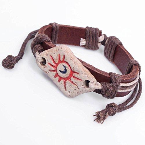 Modern Fantasy Handmade Strong Ethnic Style Sun Totem Double Colour Adjustable Leather Bracelet