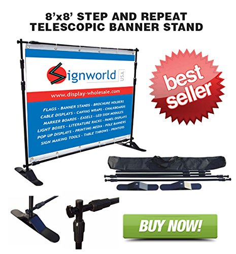 Signworld Telescopic Step And Repeat Backdrop Banner Stand