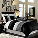 8 Pc Luxury Super Set Black White Grey Faux Silk Comforter 104x92 Set Bed In A Bag King Size Bedding
