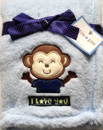 "Baby Blanket ""I Love you"" Blue Boy (Monkey)"