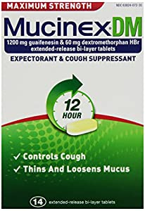 Mucinex DM Maximum Strength 12-Hour Expectorant and Cough Supressant Tablets, 14 Count