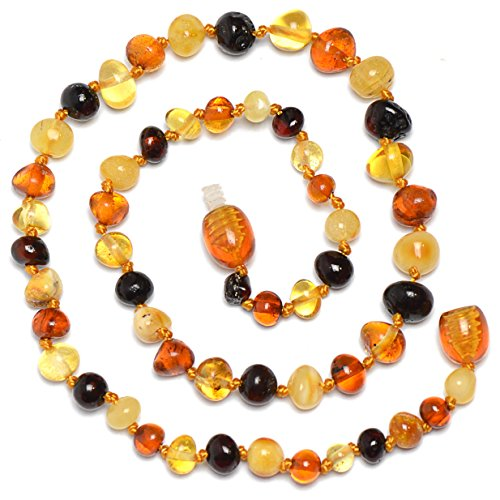 Amber Teething Necklace for Baby - Safety Knotted - Genuine Baltic Amber