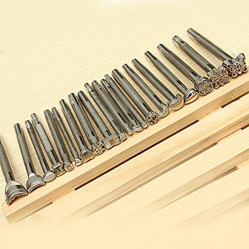 outil-cuir-main-20pcs-metal-sceau-matoir-estampage-manche-maroquinerie-travail