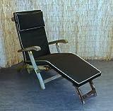 Zippy Waterproof Garden Steamer Chair Cushion - Black + Beige piping - FREE HEADREST