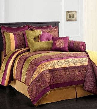 Leilani Purple Gold and Green Full Size Comforter Set Clearance