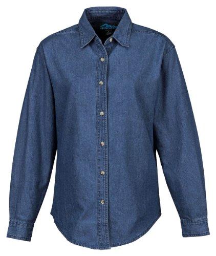 Women'S Cherokee Denim Long Sleeve Shirt, Color: Medium Indigo, Size: Xxxx-Large front-521581