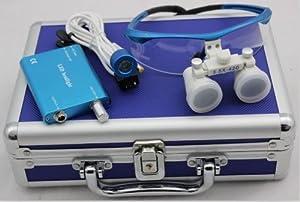 Blue 3.5x 420mm Dental Surgical Binocular Loupes +Head Light Lamp +Aluminum Box by BEAUTYLIFE