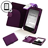 Forefront Cases Leather Case Cover Wallet with LED Reading Light and Screen Protector for Amazon Kindle 4 - Purple