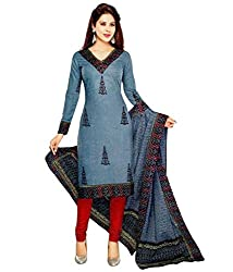 ZFashion Women's Grey & Red Color Printed Unstitched Cotton Dress Material