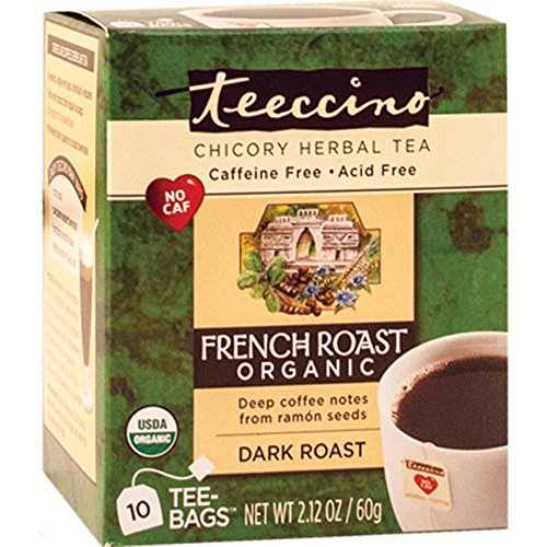 Teeccino French Roast Organic Chicory Herbal Tea Bags, Caffeine Free, Acid Free, 10 Count (Pack of 4) (Fresh Roasted French Roast compare prices)