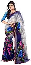 Jay Ambe Creation Women's Georgette Saree (ma1205, Blue & Grey)