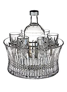 Waterford Crystal Lismore Diamond Vodka Set in Chill Bowl with Silver Insert