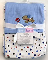 Just Born 2-Pack Thermal Receiving Blankets - Blue Puppy and Dot