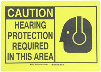 "Brady Black On Yellow Color Alert Sign, Legend ""Caution, Hearing Protection Required In This Area (With Picto)"""